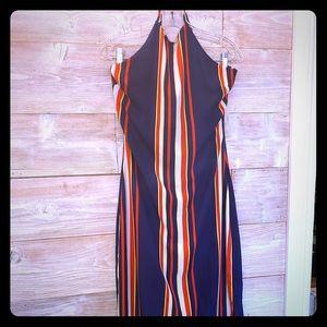 GUESS Striped Halter Maxi Dress